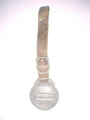 """STATE FAIR OF TEXAS - Early Watch Fob - """"New Coliseum"""" - 1910"""