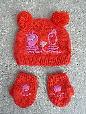 Next Girl's Red Cat Hat & Mittens Set Size 3-6 Years Excellent Condition