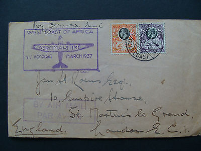 Aeromaritime/Air France, F/F cover from Gold Coast to England March 4th 1937