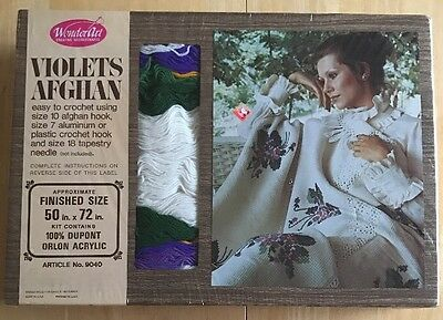 Vintage Wonder Art Violets Afghan Kit Badger Mills Chicago Il