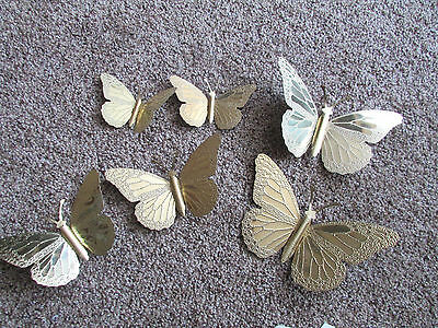6 Vintage Homco Home Interiors Metal Gold  Butterfly Wall Plaques Textured