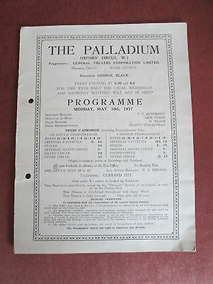 "London Palladium- Oxford Circus - Programme - 1937- ""swing Is In The Air"""