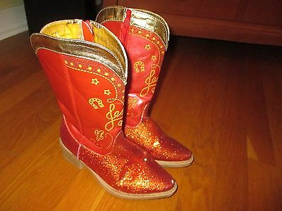 Girls Disney Store Toy Storry Jessie Red Glitter Cowgirl Boots Size 13-1