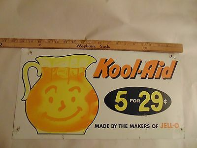 Kool- Aid Steel Sign Ad 4 For 29 From Makers Of Jello, Double Sided Vintage