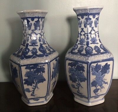 Pair of CHINESE PORCELAIN Vases  Floral Oriental Blue & White Beautiful.