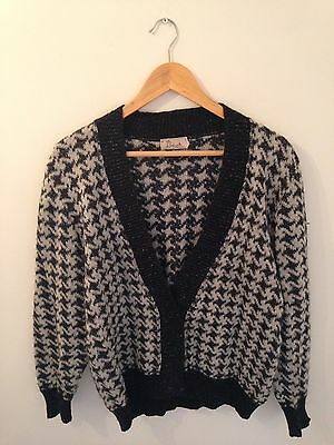 Vintage Outfitters Houndstooth Dogtooth Cardigan Winter 10 12 Urban 80s
