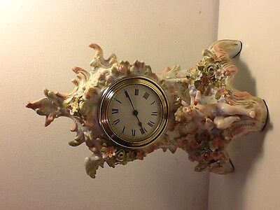 Antique China Floral Rococo Style Mantel Clock,figure of Cupid, French movement