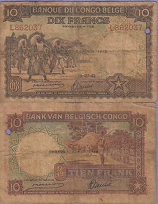 Belgian Congo 10 Francs Banknote 10.07.42  Very Good Condition Cat#14-B-2037