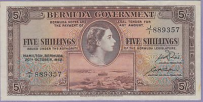Bermuda 5 Shillings Banknote 20.10.1952 About Uncirculated Cond, Cat#19-A-9357
