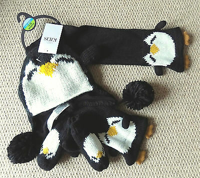 Marks & Spencer Boys Penguin Scarf Hat & Mittens -Age18-36 M- Black Mix-RRP £20