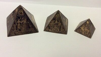 Vintage Egyptian Art Deco Brass Three Pyramids Pharaohs Gods Paperweights