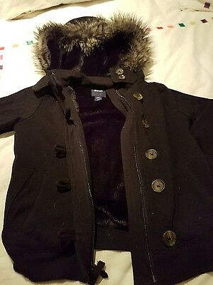 Gap kids girls black hooded fur trim jacket 6-7 years