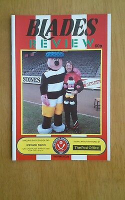 1987/88 SHEFFIELD UNITED v IPSWICH TOWN  - EXCELLENT CONDITION