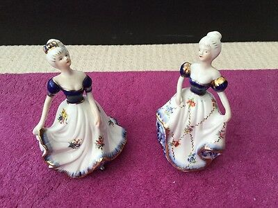 Lady figuerine ornmaments - matching pair
