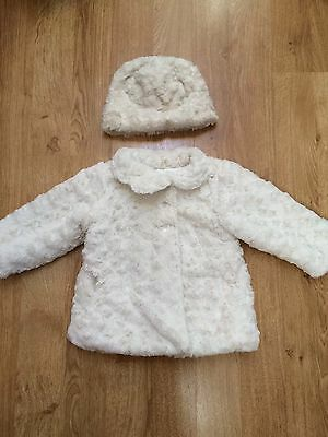 Girls 18-24 Month Cream Fur Coat And Russian Style Matching Hat, Mothercare
