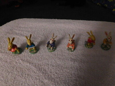 6 Vintage Wooden Bunny Rabbit Band Member's