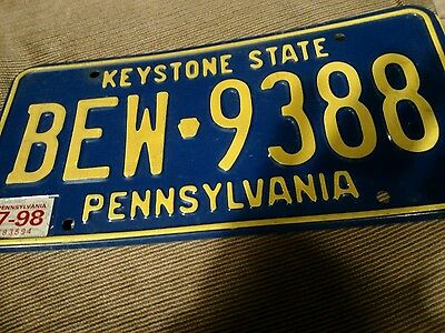 1998 Pennsylvania License Plate -BEW 9388 KEYSTONE STATE BLUE PLATE YELLOW LETTE