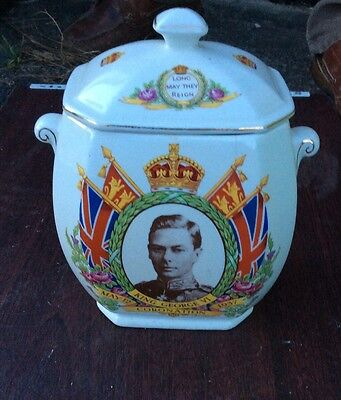Royal Coronation  Ringtons Biscuit Barrel George Vi by Maling Ware 1937