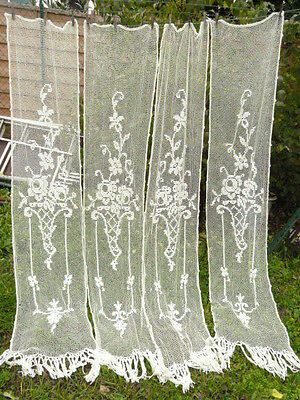 4 or 2 pairsFrench Vintage Filet Lace Net Curtains