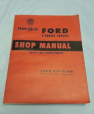 1949-51 Ford F Series Pickup Truck Shop Manual Hot Rat Rod Red Book 1952 suppl.