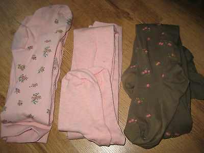 3 x NEXT COTTON RICH TIGHTS SET PINK KHAKI AGE 11-12 Years