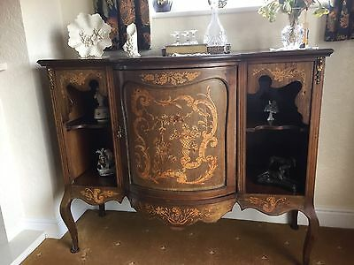 French Inlaid Wood Antique Display Cabinet