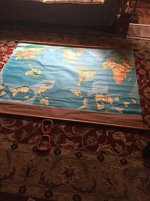 Roll Down Map Of The World.Benefic Press Chicago Cloth Vintage