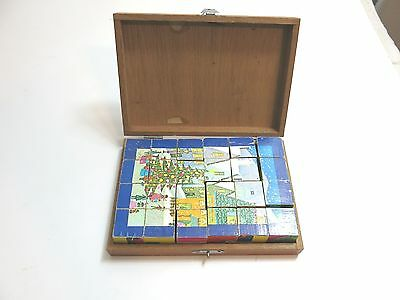 Vintage Old School 6 Way Wooden Block Puzzle In Wood Case Christmas Theme
