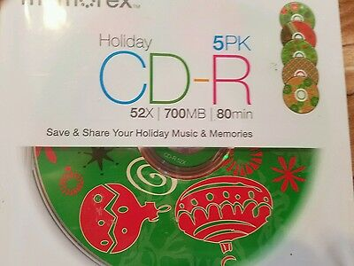 Memorex Nip Holiday Cd-R 5 Pack With Christmas Designs 52X/700Mb/80Min