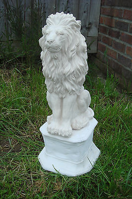 """Latex Rubber Mould + Fibreglass Casing   Lion Sitting On A Plinth 21"""" Height"""