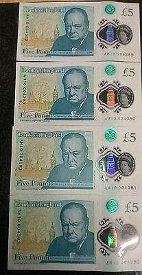 4 X Consecutive Serial Numbers Five Pound Note £5 Uncirculated New AH10