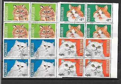 Nicaragua Cats Block of For Stamps Used Very Good Condition