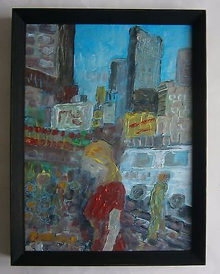 """An Original Oil Painting """"new York"""" - Signed"""