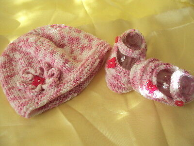 Hand Knitted Baby Beanie And  Bootees - Made In Australia