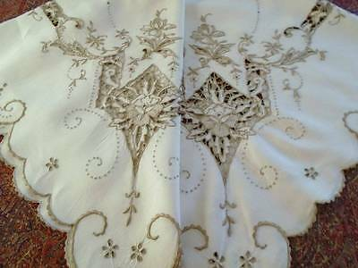 Magnificent Antique Madeira Irish Linen Tablecloth~ Elaborate Ornate Embroidery