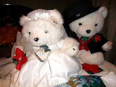 Mr.& Mrs. Bride  & Groom W/Bags Santa Bears by Dayton Hudson Marshall Field 2000