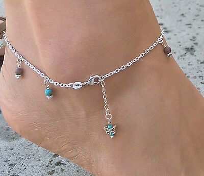 925 Sterling Silver Gemstone Butterfly Anklet w/Free Gift Box & Shipping
