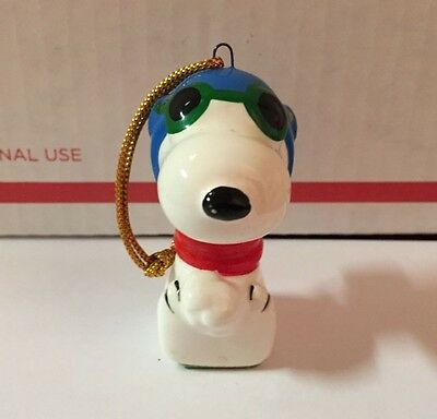 Vintage Ceramic Peanuts SNOOPY FLYING ACE Ornament Green Bottom