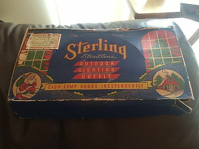 Vintage General Electric Sterling Straitline Outdoor Xmas Lights Made In 1940s