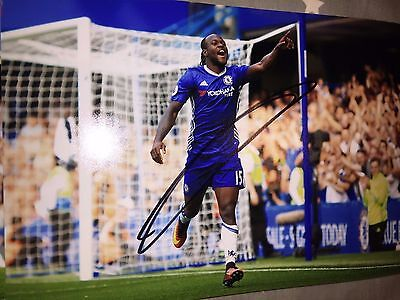 Victir Moses Chelsea Fc Blues Hand Signed 12X8 Photo New Stock