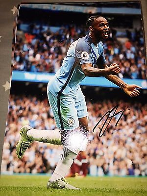 Raheem Sterling Manchester City Fc Hand Signed 12X8 Photo New Stock