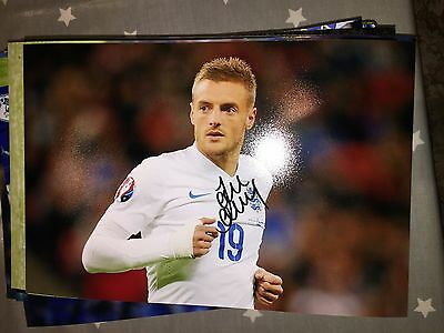 Jamie Vardy England Leicester City Fc Foxes Hand Signed 12X8 Photo New Stock