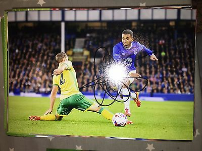 Aaron Lennon Everton Fc Toffees Hand Signed 12X8 Photo New Stock