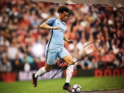 Leroy Sane Manchester City Fc Hand Signed 12X8 Photo New Stock