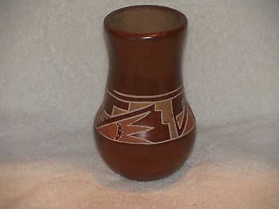 "Lovely Santa Clara Polychrome Redware Vase, 5.5"" x 3.5"", XC, Make Offer"