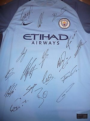 Manchester City Fc Blues Squad Hand Signed Official Shirt Signed By 17
