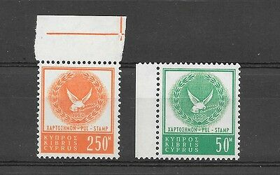 Cyprus 1960 Revenue 2 stamps 250m and 50m MNH