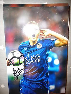 Jamie Vardy Leicester City Fc Foxes Hand Signed 12X8 Photo New Stock