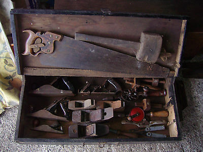 old carpenters chest and tools