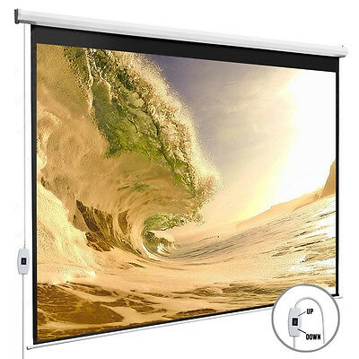 100''Electric Projection Screen 16:9 Projector Home Movie Matte White Pull Down